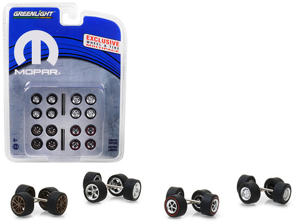 "Wheel and Tire Multipack (Set of 24 pieces) ""MOPAR"" Hobby Exclusive 1/64 by Greenlight"