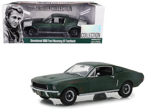 "1968 Ford Mustang GT Fastback Green Unrestored ""Steve McQueen Collection"" (1930-1980) 2018 Detroit Auto Show 1/18 Diecast Model Car by Greenlight"