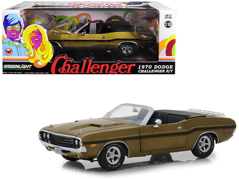 1970 Dodge Challenger R/T Convertible with Luggage Rack Metallic Gold with Black Stripes 1/18 Diecast Model Car by Greenlight