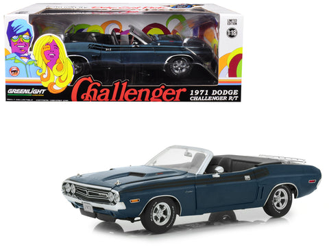 1971 Dodge Challenger R/T Convertible with Luggage Rack Gunmetal Gray Metallic with Black Stripes 1/18 Diecast Model Car by Greenlight