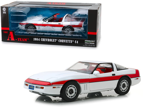 "1984 Chevrolet Corvette C4 Convertible White with Red Stripe ""The A-Team"" (1983-1987) TV Series 1/18 Diecast Model Car by Greenlight"