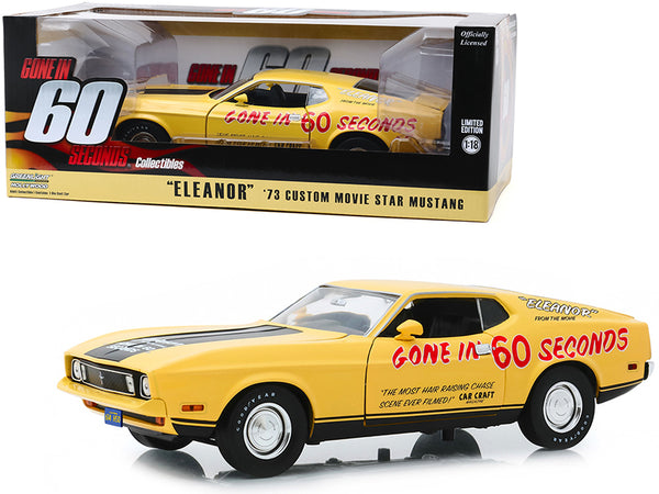 "1973 Ford Mustang Mach 1 Custom Movie Star ""Eleanor"" Yellow with Black Stripe (Post-Filming Tribute Edition) ""Gone in 60 Seconds"" (1974) Movie 1/18 Diecast Model Car by Greenlight"