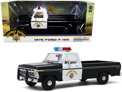"1975 Ford F-100 Pickup Truck ""California Highway Patrol"" (CHP) Black and White 1/18 Diecast Model by Greenlight"