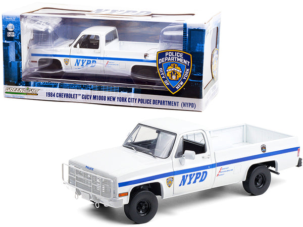 "1984 Chevrolet CUCV M1008 Pickup Truck White with Blue Stripes ""NYPD - New York City Police Department"" 1/18 Diecast Model by Greenlight"