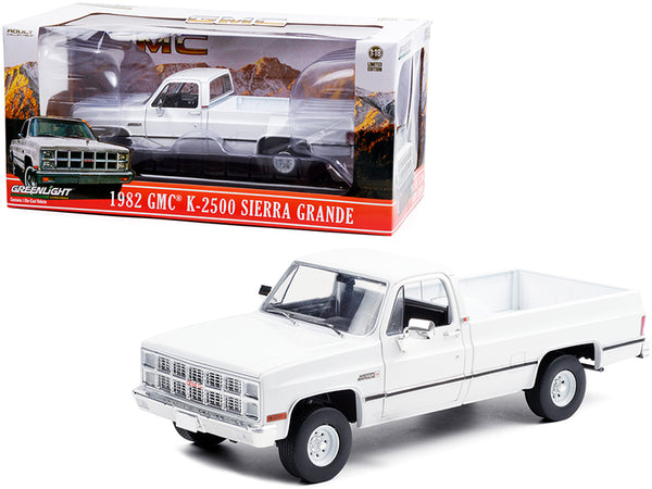 1982 GMC K-2500 Sierra Grande Wideside Pickup Truck White 1/18 Diecast Model by Greenlight