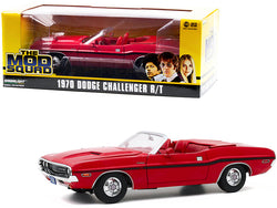 "1970 Dodge Challenger R/T Convertible Rallye Red with Red Interior and Black Stripes ""The Mod Squad"" (1968-1973) TV Series 1/18 Diecast Model Car by Greenlight"