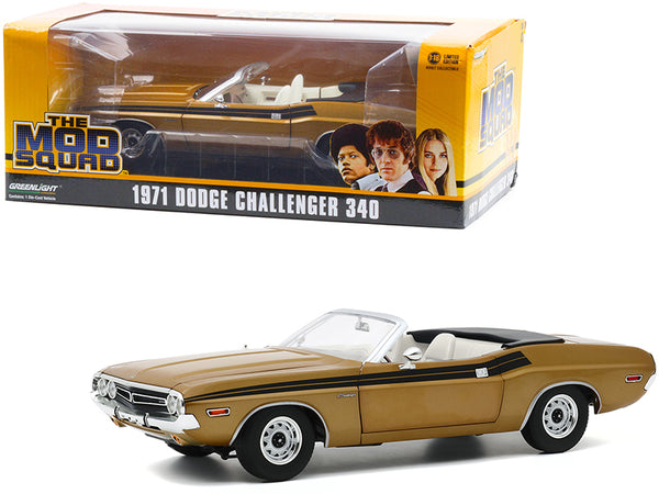 "1971 Dodge Challenger 340 Convertible Gold with White Interior and Black Stripes ""The Mod Squad"" (1968-1973) TV Series 1/18 Diecast Model Car by Greenlight"