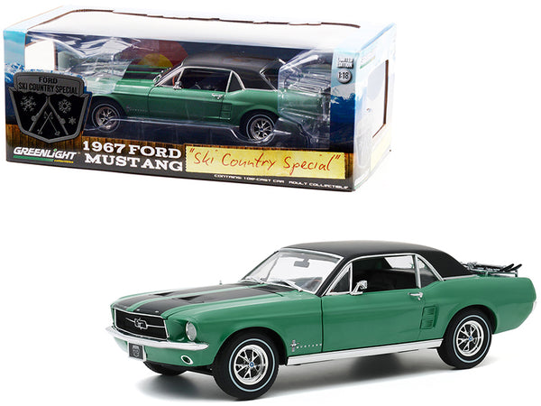 "1967 Ford Mustang Coupe Loveland Green Metallic with Black Stripes and Black Top and a Pair of Skis ""Ski Country Special"" 1/18 Diecast Model Car by Greenlight"