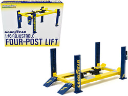 "Adjustable Four Post Lift Yellow and Blue ""Goodyear Tires"" for 1/18 Scale Diecast Models by Greenlight"