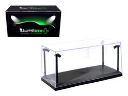 Collectible Acrylic Display Case with LED Lights and black base for 1/18 and 1/24 Diecast Models by Illumibox