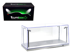 Collectible Acrylic Display Case with LED Lights and silver base for 1/18 and 1/24 Diecast Models by Illumibox