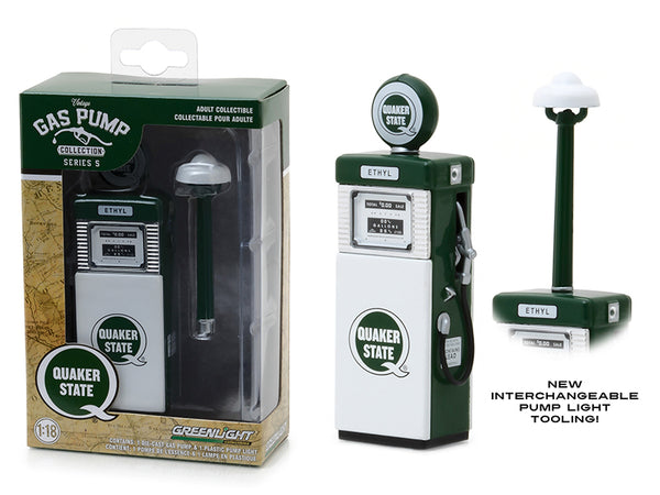 "1951 Wayne 505 ""Quaker State"" with Pump Light -  Gas Pump Replica Vintage Series 5 1/18 Diecast Model by Greenlight"