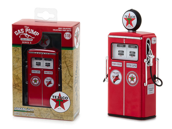 "1954 Tokheim 350 Twin ""Texaco: Fire-Chief Extra Super"" Gas Pump Replica Vintage Series 5 1/18 Diecast Model by Greenlight"