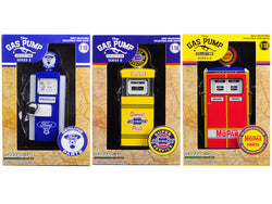 """Vintage Gas Pumps"" Series #6 (Set of 3 Pumps) 1/18 Diecast Models by Greenlight"