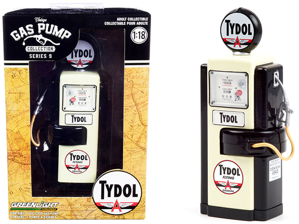 "1948 Wayne 100-A Gas Pump ""Tydol Flying Gasoline"" Black and Cream ""Vintage Gas Pumps"" Series #9 1/18 Diecast Model by Greenlight"