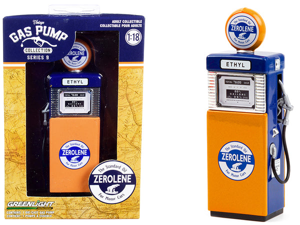 "1951 Wayne 505 Gas Pump ""Zerolene The Standard Oil for Motor Cars"" Orange and Blue ""Vintage Gas Pumps"" Series #9 1/18 Diecast Model by Greenlight"