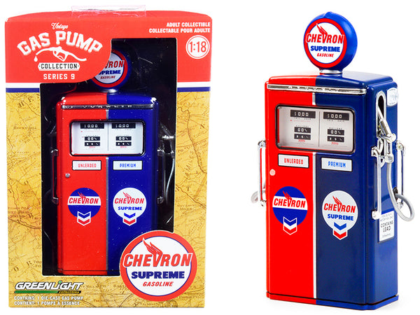 "1954 Tokheim 350 Twin Gas Pump ""Chevron Supreme"" Red and Blue ""Vintage Gas Pumps"" Series #9 1/18 Diecast Model by Greenlight"