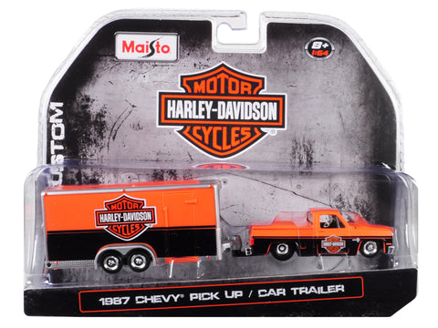 "1987 Chevrolet Pickup Truck with Enclosed Car Trailer Orange and Black ""Harley Davidson"" 1/64 Diecast Model by Maisto"