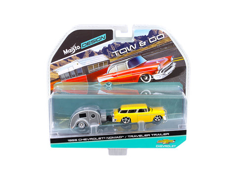 "1955 Chevrolet Nomad with Travel Trailer Yellow ""Tow & Go"" Series 1/64 Diecast Models by Maisto"