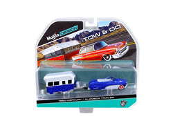 "1950 Mercury with Alameda Trailer Blue and White ""Tow & Go"" Series 1/64 Diecast Models by Maisto"