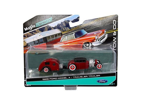 "1929 Ford Model A Burgundy and Traveler Trailer ""Tow & Go"" Series 1/64 Diecast Models by Maisto"