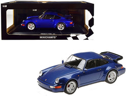 1990 Porsche 911 Turbo Metallic Blue Limited Edition to 500 pieces Worldwide 1/18 Diecast Model Car by Minichamps