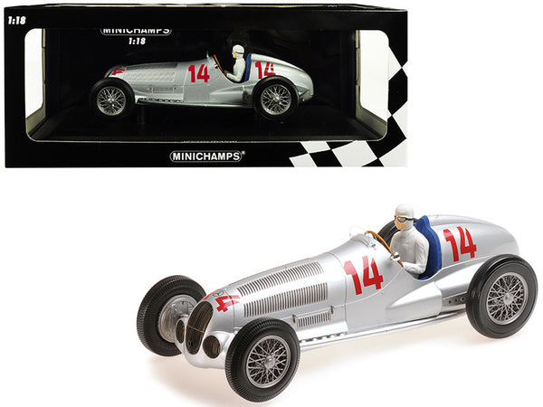 Mercedes Benz W125 (Daimler-Benz AG) #14 Manfred V. Brauchitsch 2nd Place 1937 GP Von Deutschland (The German Grand Prix) Limited Edition to 300 pieces Worldwide 1/18 Diecast Model Car by Minichamps