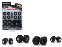 """Firestone"" Wheel and Tire Multipack ""Kings of Crunch"" (Set of 24) ""Wheel & Tire Packs"" Series #1 1/64 by Greenlight"