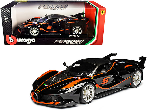 Ferrari FXX-K #5 Fu Songyang Black with Gray Top and Orange Stripes 1/18 Diecast Model Car by Bburago
