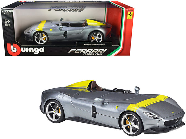 Ferrari Monza SP1 Silver Metallic with Yellow Stripes 1/18 Diecast Model Car by Bburago