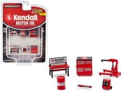 """Kendall Motor Oil"" (6 Piece Shop Tools Set) ""Shop Tool Accessories"" Series #3 for 1/64 scale models  by Greenlight"
