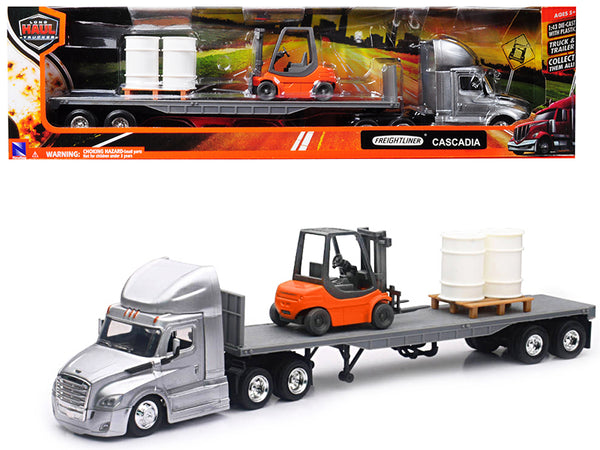 "Freightliner Cascadia Silver with Flatbed Hauling Forklift, Pallet, and Barrels ""Long Haul Trucker"" 1/43 Diecast Model by New Ray"