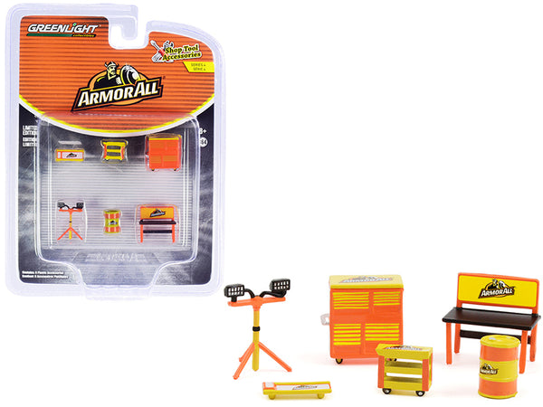 """Armor All"" (6 Piece Shop Tools Set) ""Shop Tool Accessories"" Series #4 for 1/64 Models by Greenlight"