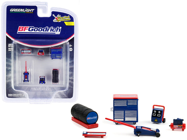 """BFGoodrich Tires"" (6 Piece Shop Tools Set) ""Shop Tool Accessories"" Series #4 for 1/64 Models by Greenlight"