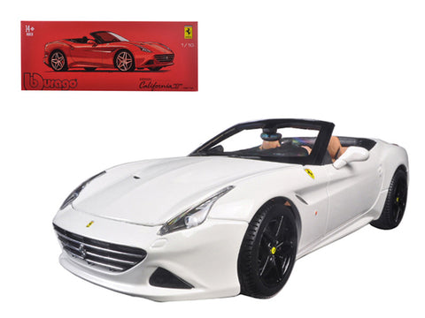 Ferrari California T (open top) Convertible White Signature Series 1/18 Diecast Model Car by Bburago
