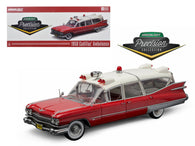 "1959 Cadillac Ambulance Red and White ""Precision Collection"" 1/18 Diecast Model Car  by Greenlight"