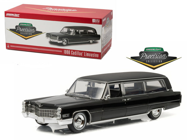 "1966 Cadillac S&S Limousine Black ""Precision Collection"" Limited Edition 1/18 Diecast Model Car  by Greenlight"