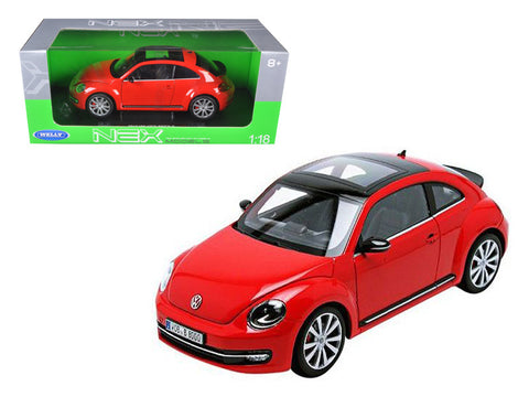 2012 Volkswagen New Beetle Red 1/18 Diecast Model Car by Welly