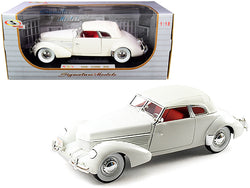 1936 Cord 810 Coupe White with Red Interior 1/18 Diecast Model Car by Signature Models