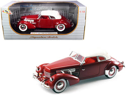 1937 Cord 812 Supercharged Coupe Burgundy with White Top 1/18 Diecast Model Car by Signature Models