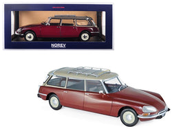 1970 Citroen Break 21 with Roof Rack Burgundy 1/18 Diecast Model Car by Norev