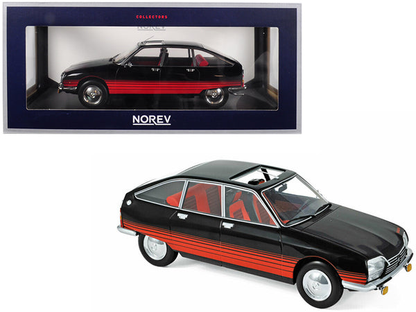 "1978 Citroen GS ""Basalte"" with Sunroof Open Black and Red Deco 1/18 Diecast Model Car by Norev"