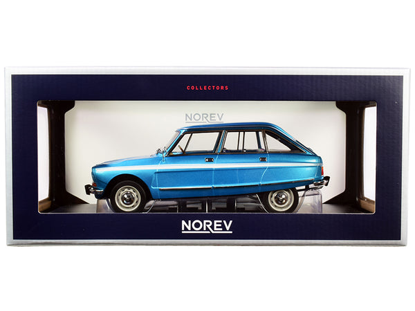 1974 Citroen Ami Super Delta Blue Metallic with White Stripes 1/18 Diecast Model Car by Norev