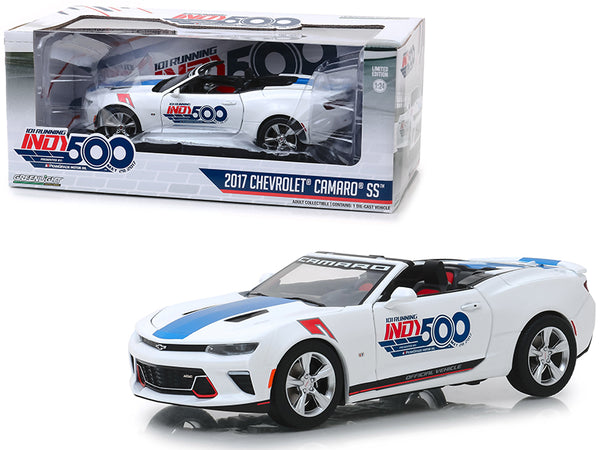 "2017 Chevrolet Camaro SS Convertible White ""101 Running Indy 500"" Presented by PennGrade Motor Oil 500 Festival Event Car 1/24 Diecast Model Car by Greenlight"