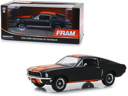 "1968 Ford Mustang GT Fastback ""FRAM Oil Filters"" Black with Orange Stripes 1/24 Diecast Model Car by Greenlight"