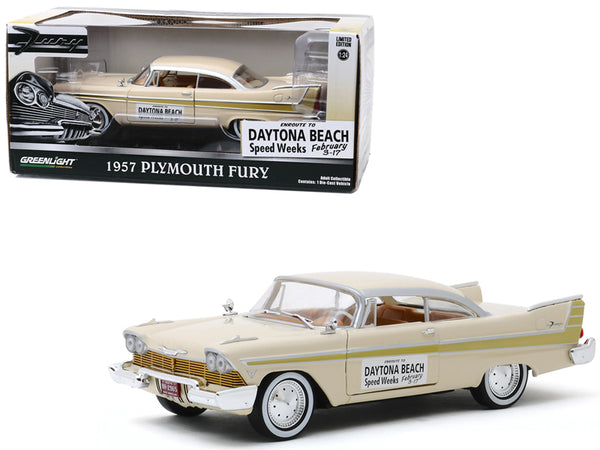 "1957 Plymouth Fury Cream with Gold Stripes ""Daytona Beach Speed Weeks"" February 3-17 (1957) 1/24 Diecast Model Car by Greenlight"