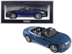2019 Bentley Continental GT Convertible Blue Crystal Metallic 1/18 Diecast Model Car by Norev