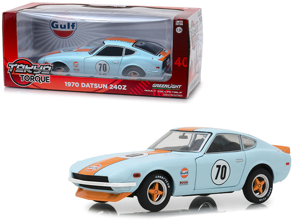 "1970 Datsun 240Z #70 ""Gulf Oil"" Light Blue ""Tokyo Torque"" Series 1/24 Diecast Model Car by Greenlight"