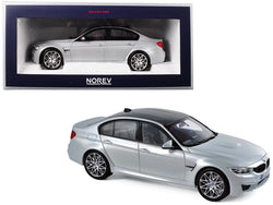 2017 BMW M3 Competition Package Silver with Black Top 1/18 Diecast Model Car by Norev