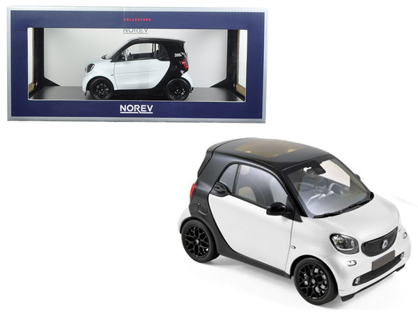 2015 Smart Fortwo Black and White 1/18 Diecast Model Car by Norev